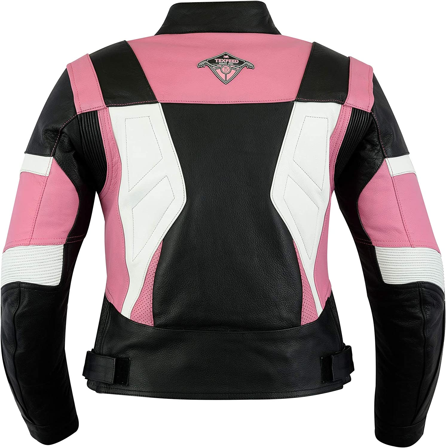 All Sizes Ladies Texpeed Pink /& Black Armoured Leather Motorcycle//Motorbike Jacket