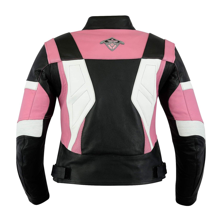 UK 10-22 Ladies Texpeed Pink /& Black Armoured Leather Motorcycle//Motorbike Jacket