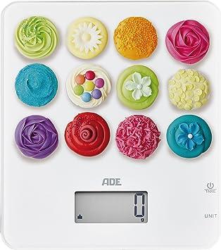 ADE Báscula de cocina digital KE1721. Diseño cupcakes. Pantalla LCD. Capacidad 5Kg. Tara. Sensor al tácto.Támbien para líquidos.