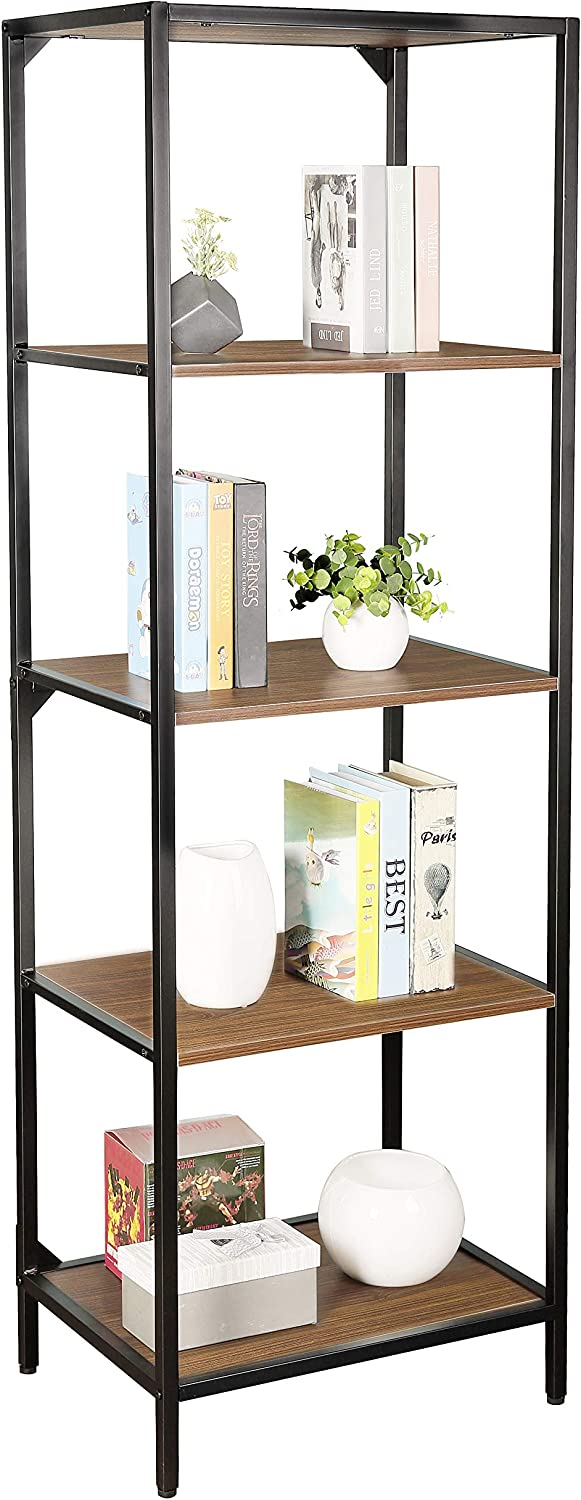 JJS Industrial 5 Tier Open Bookcase, Wood Shelving Storage Unit Display Rack with Metal Frames, Plant Flower Stand Organizer Media Shelf for Living Room Bedroom Office Bathroom, Glen Walnut