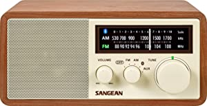 Sangean WR-16 AM/FM/Bluetooth Wooden Cabinet Radio with USB Phone Charging