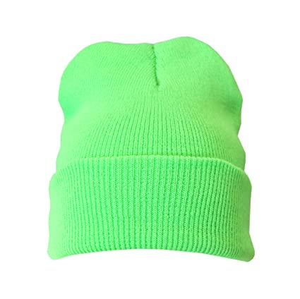 b6a2781465b29 Neon Green Warm Winter Unisex Beanie Hat  Amazon.co.uk  Kitchen   Home