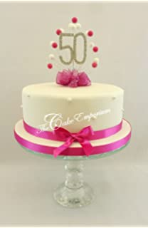 50TH BIRTHDAY CAKE TOPPER DECORATION FUCHSIA BALL BURST WITH 50th DIAMANTE NUMBER