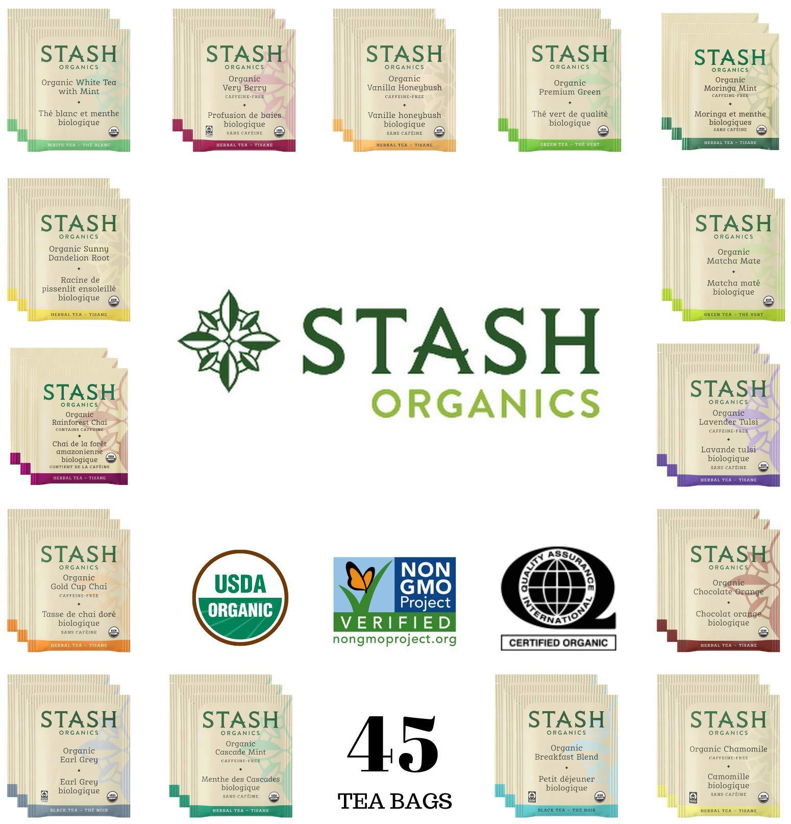 Stash Organic Tea Sampler - Assortment Variety Pack Gift Set - Black, White, Green & Herbal Tea Bags - 45 Count, 15 Flavors - /w Eco-Friendly Cotton Bag by Stash