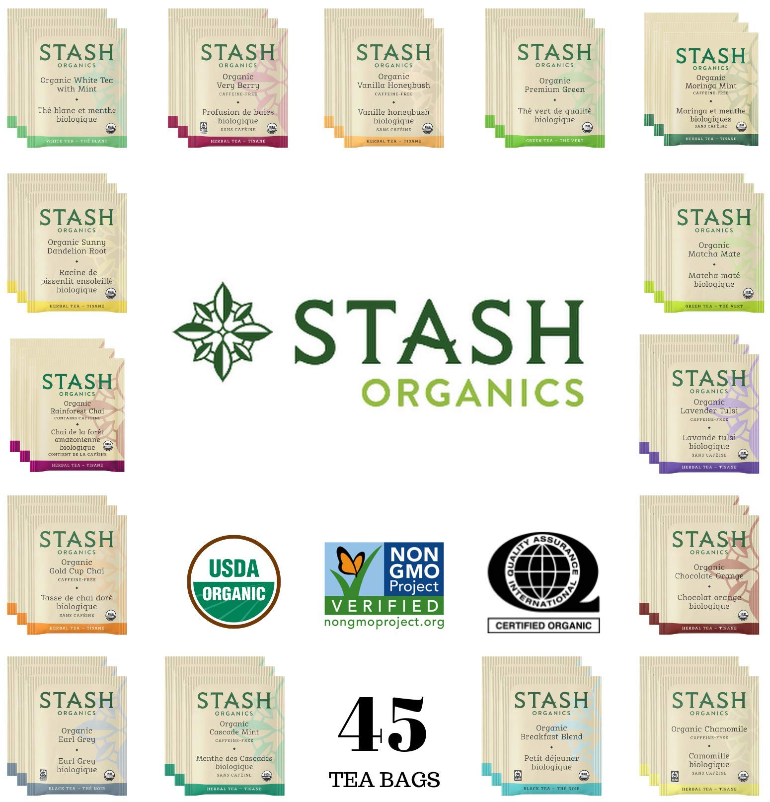 Stash Organic Tea Sampler - Assortment Variety Pack Gift Set - Black, White, Green & Herbal Tea Bags - 45 Count, 15 Flavors - /w Eco-Friendly Cotton Bag