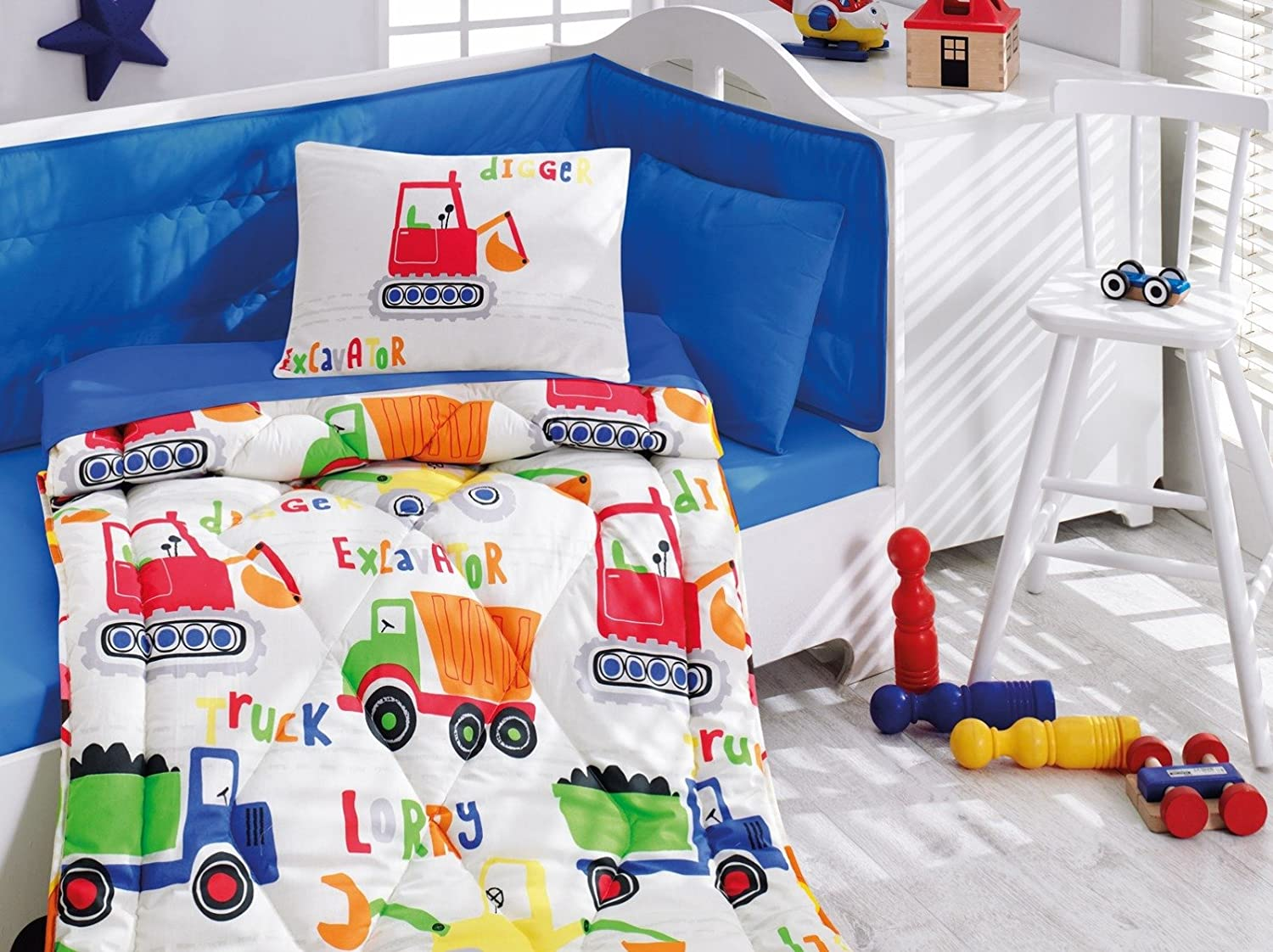 DecoMood Construction Vehicles - 100% Cotton Nursery Crib Set for Boys, 6 Pieces Baby Comforter/Quilt Set with Crib Bumper, Comforter, Crib Sheet, Pillowcases