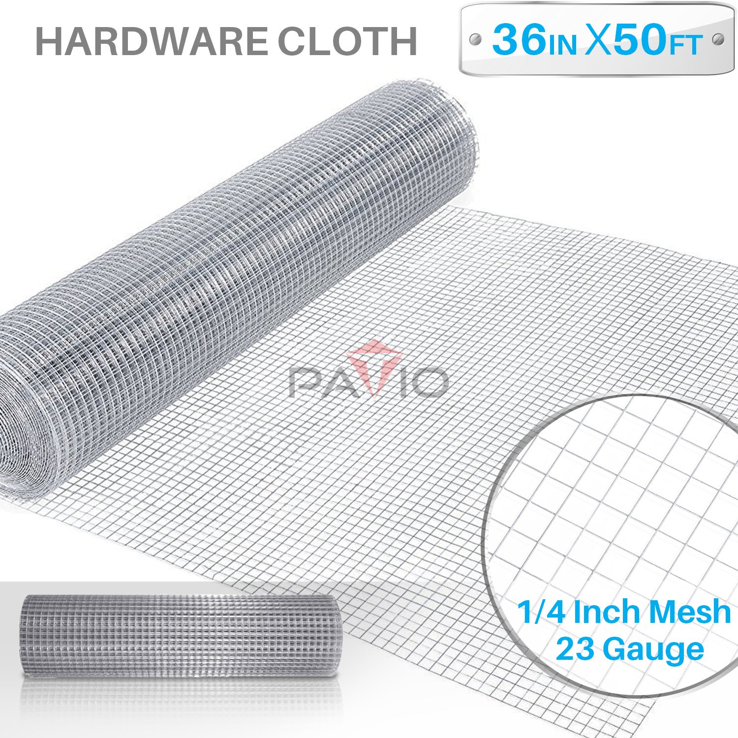 Patio Paradise 1/4 36-Inch x 50-Feet 23 Gauge Wire Mesh Galvanized Hardware Cloth for Garden Plant Rabbit Chicken Run Chain Link Fencing Guard Cage
