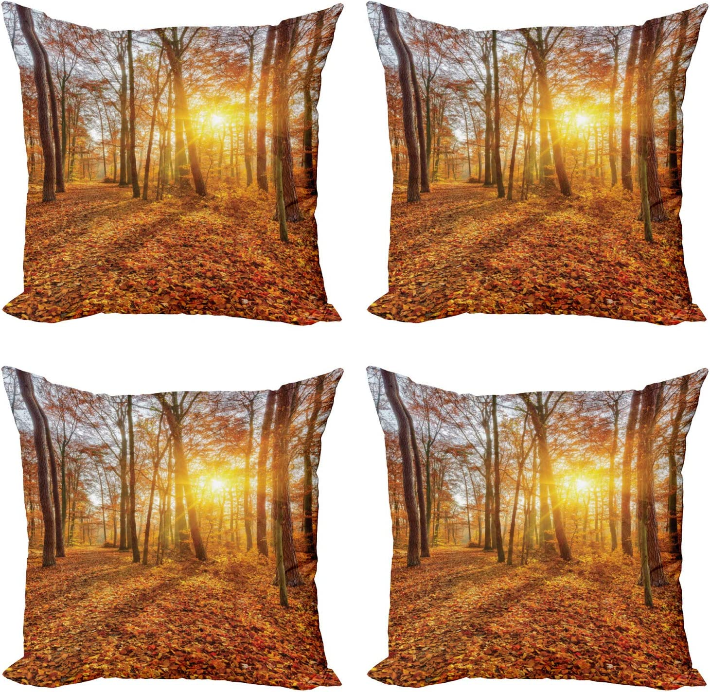 Abakuhaus Forest Cushion Cover Set Of 4 Foggy Sunset Sunbeams Modern Double Sided Digital Print Microfibre Multi Coloured 40 Cm Amazon Co Uk Kitchen Home
