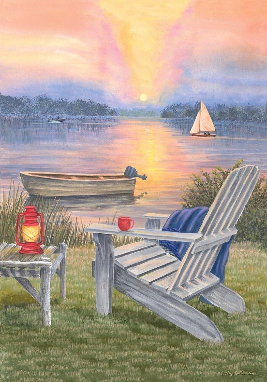 "Briarwood Lane Waterfront Retreat Summer Garden Flag Sunset Adirondack Chair 12.5"" x 18"""