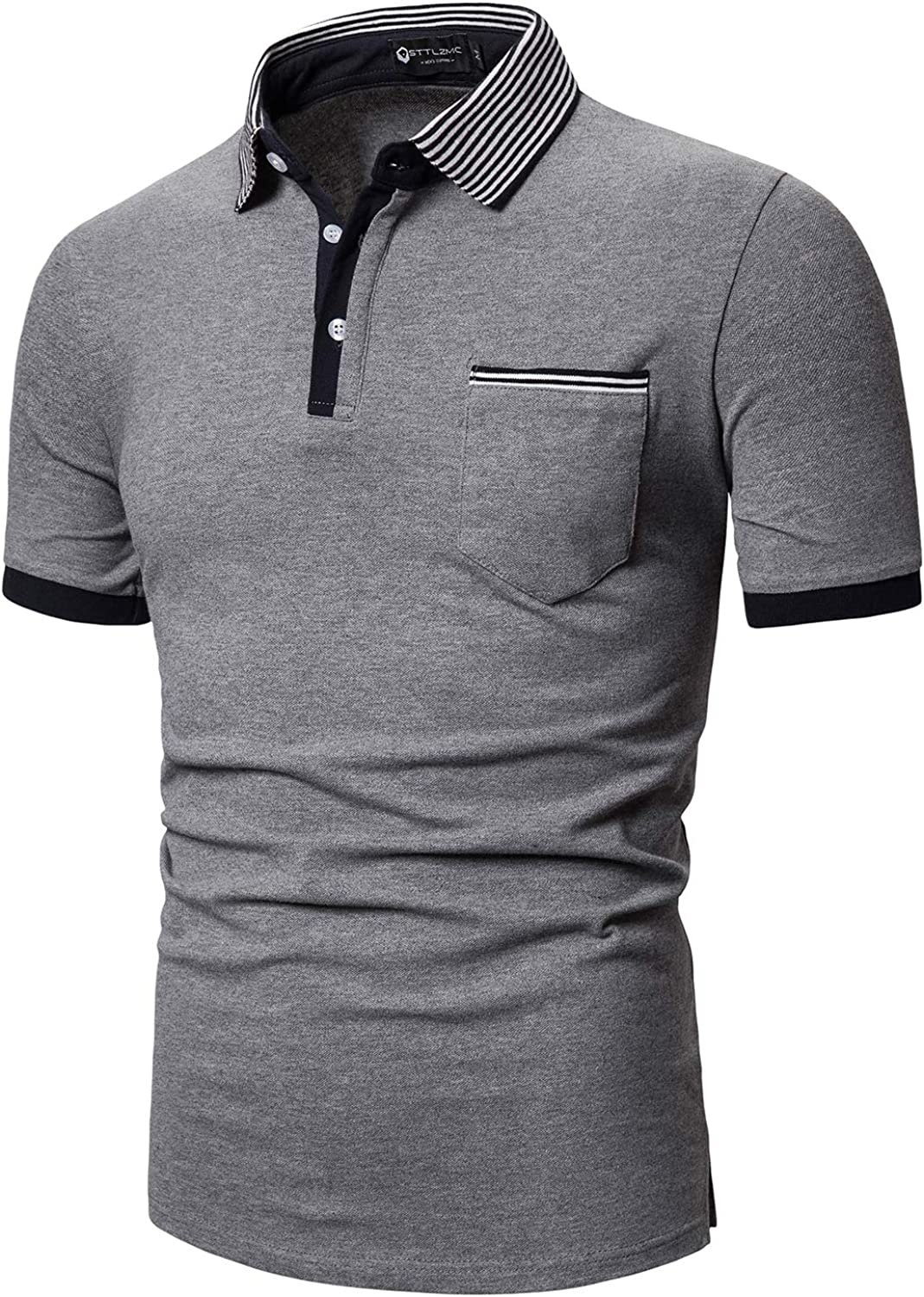 STTLZMC Casual Polo Homme Manche Courtes T-Shirt Mince Slim Fit Col Rayures Tops