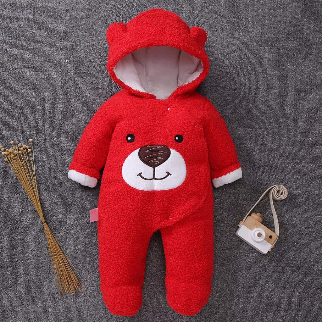 Lavany  Baby Fleece Footed Jumpsuit Boys Girls Cute Bear Plush Soft Thick Clothes