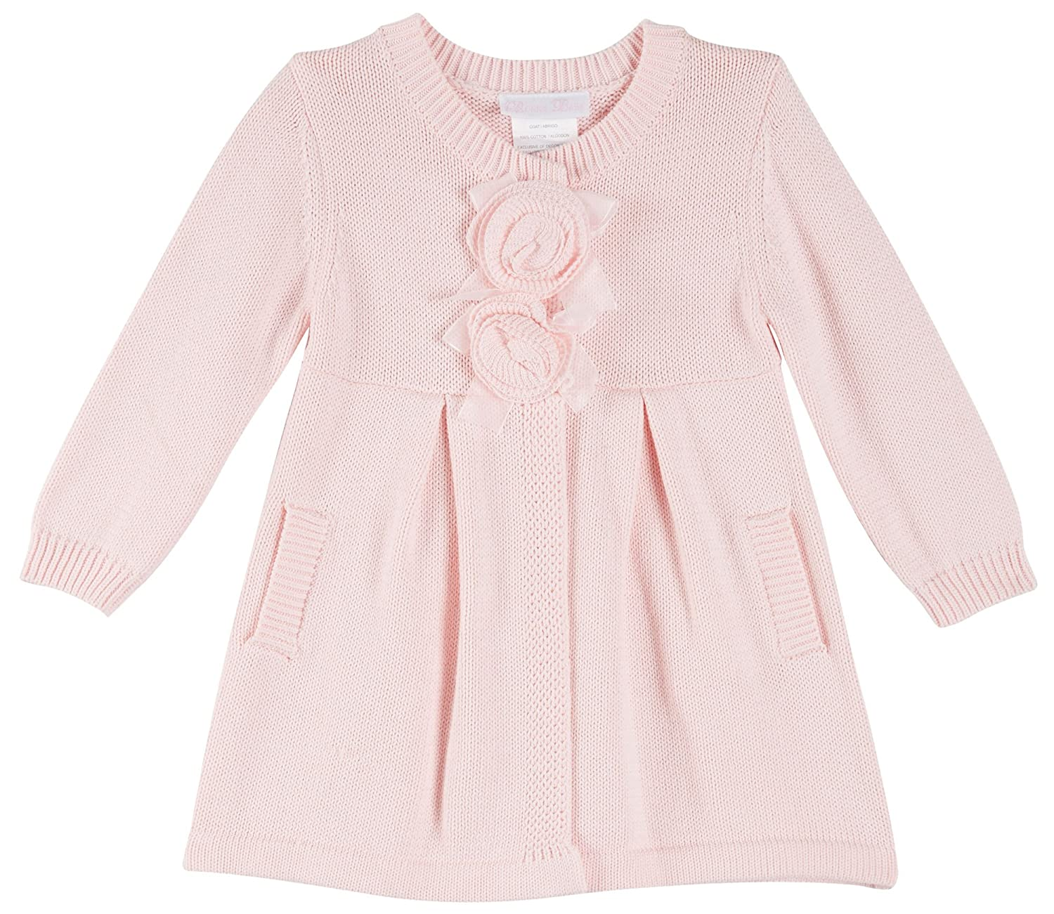 Bonnie Jean Baby Girls Pink Hooded Coatigan Sweater Jacket with Flowers