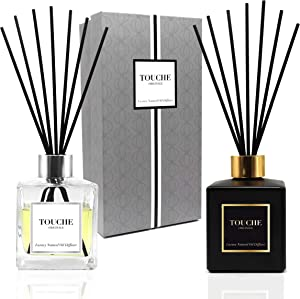 TOUCHE ORIGINALE Luxury Natural Reed Diffuser. Fruity and Baked Cinnamon & Apple. Long Lasting Scented Home Fragrance. Natural Essential Oil Alcohol-Free. 4.75 OZ - Black Bottle