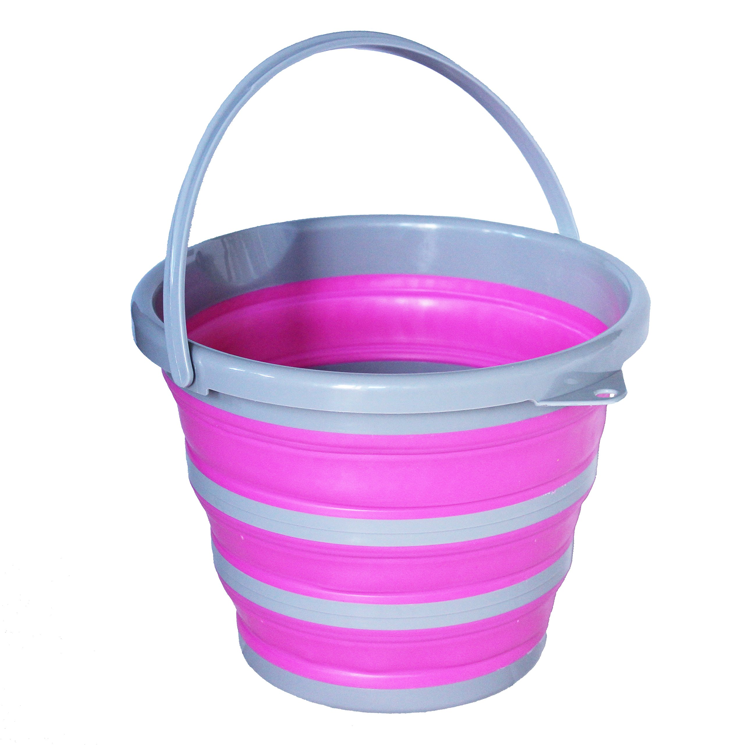 Collapsible Plastic Bucket, 10L with Handle for Fishing,Camping, Car Washing, Plastic Fish Bowl, Mop Bucket,Wash Pail Portable Folding Container Homes (Pink)