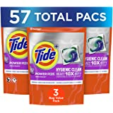 Tide Pods Hygienic Clean Hvy 10x Dty Pwr Pods Laundry Detergent Pacs, Spring Meadow, 3 Pack, 57 count