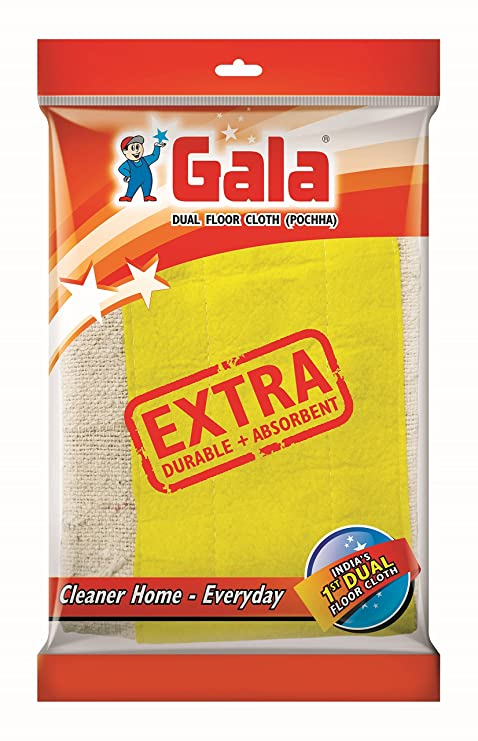 Gala Dual Technology Floor Cloth Set, Pack of 6(White and Yellow)