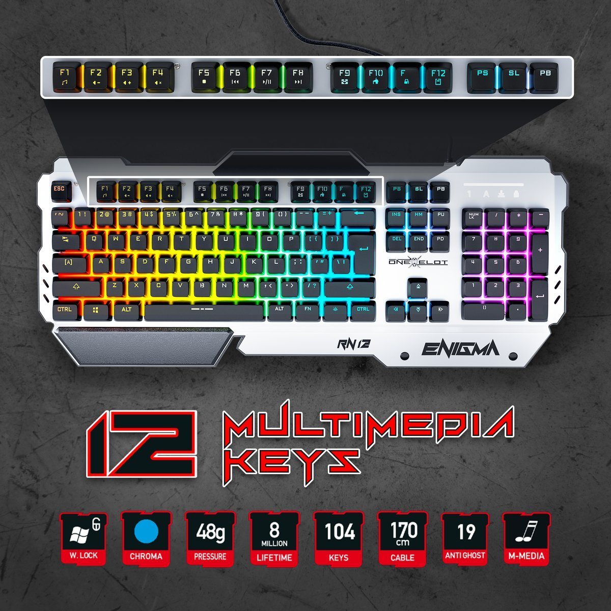 ONEXELOT Aluminum gaming keyboard, USB wired RGB backlit Revolutionary semi mechanical keyboard mod ENIGMA by ONEXELOT (Image #5)