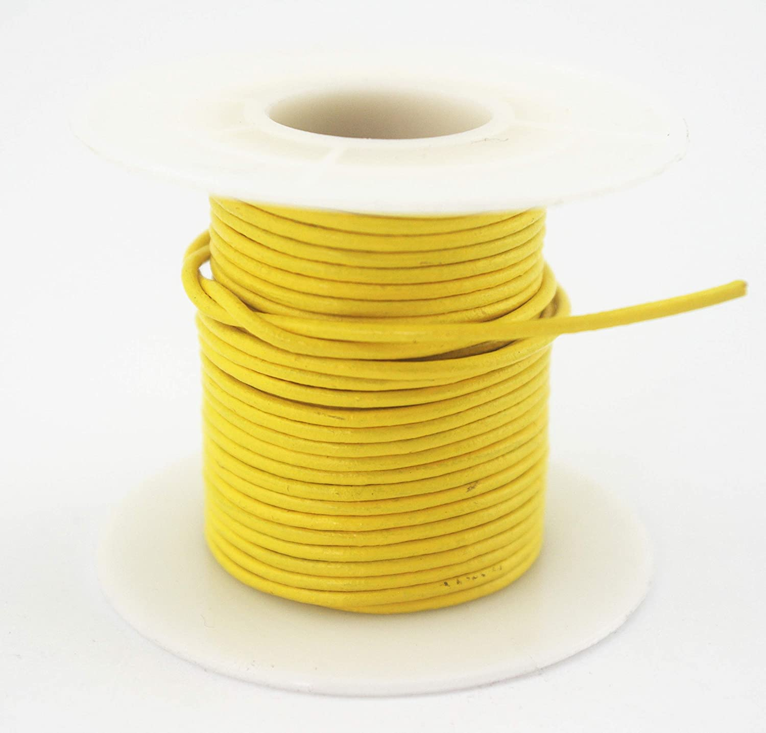 1.5mm, Lemon Yellow Glory Qin Soft Round Genuine Jewelry Leather Cord Leather Rope Beading String