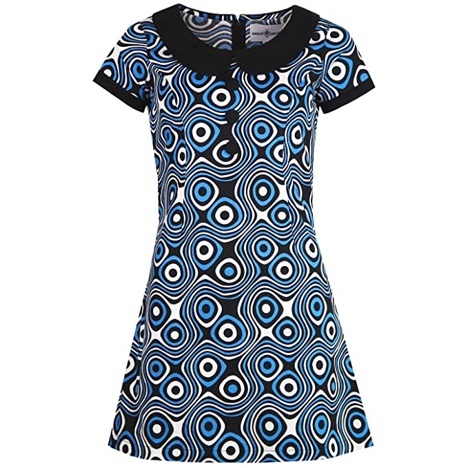 1960s Mad Men Dresses and Clothing Styles Madcap England Womens Dollierocker Op Art 1960s Retro Mod Mini Dress £39.99 AT vintagedancer.com