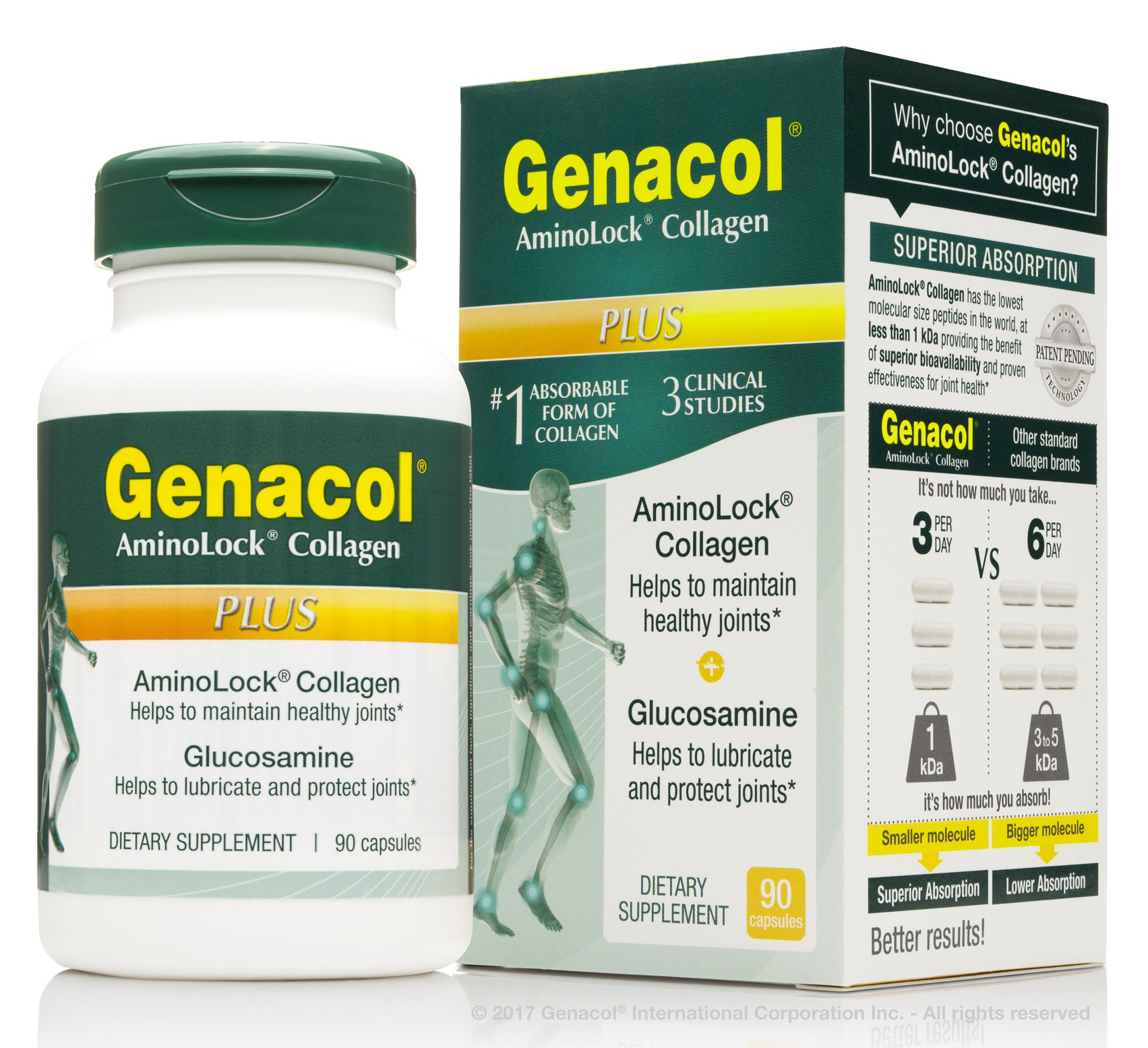 GENACOL PLUS 2-in-1 Collagen and Glucosamine Joint Health Supplement | Extra-Fast Absorbing Peptides | Grass-Fed Bovine Hydrolysate | Non-GMO Knee, Back & Joint Care Formula | (90 Capsules)