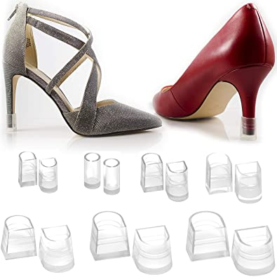 4e447e89d6f 7 Sizes 7 Pair Set Clear-Glass High Heel Protectors   Heel Repair  Replacement Anti