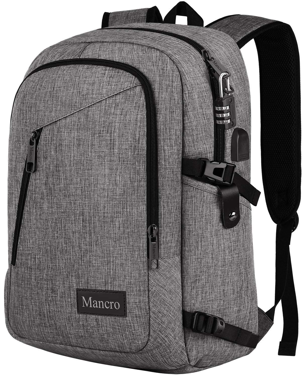 Laptop Backpack, School Backpacks Durable Water Resistant College Bookbag for Women and Men, Anti Theft Slim Business Travel Computer Bag with USB Charging Port Fits UNDER 17 Inch Laptop (Grey) by Mancro