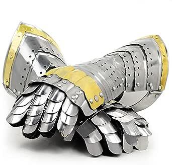 Nagina International Medieval Warrior Steel Gothic Knight Style Warrior Functional Gloves & Gauntlets   Brass Accent
