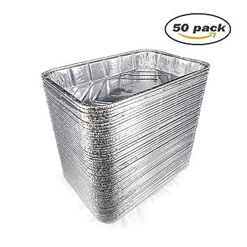 Desechables de papel de aluminio sartenes - sartenes de juego de Rectángulo desechables molde para pasteles y tartas, 12.41 X 8,27 x 1.77 Inchs (30 ...
