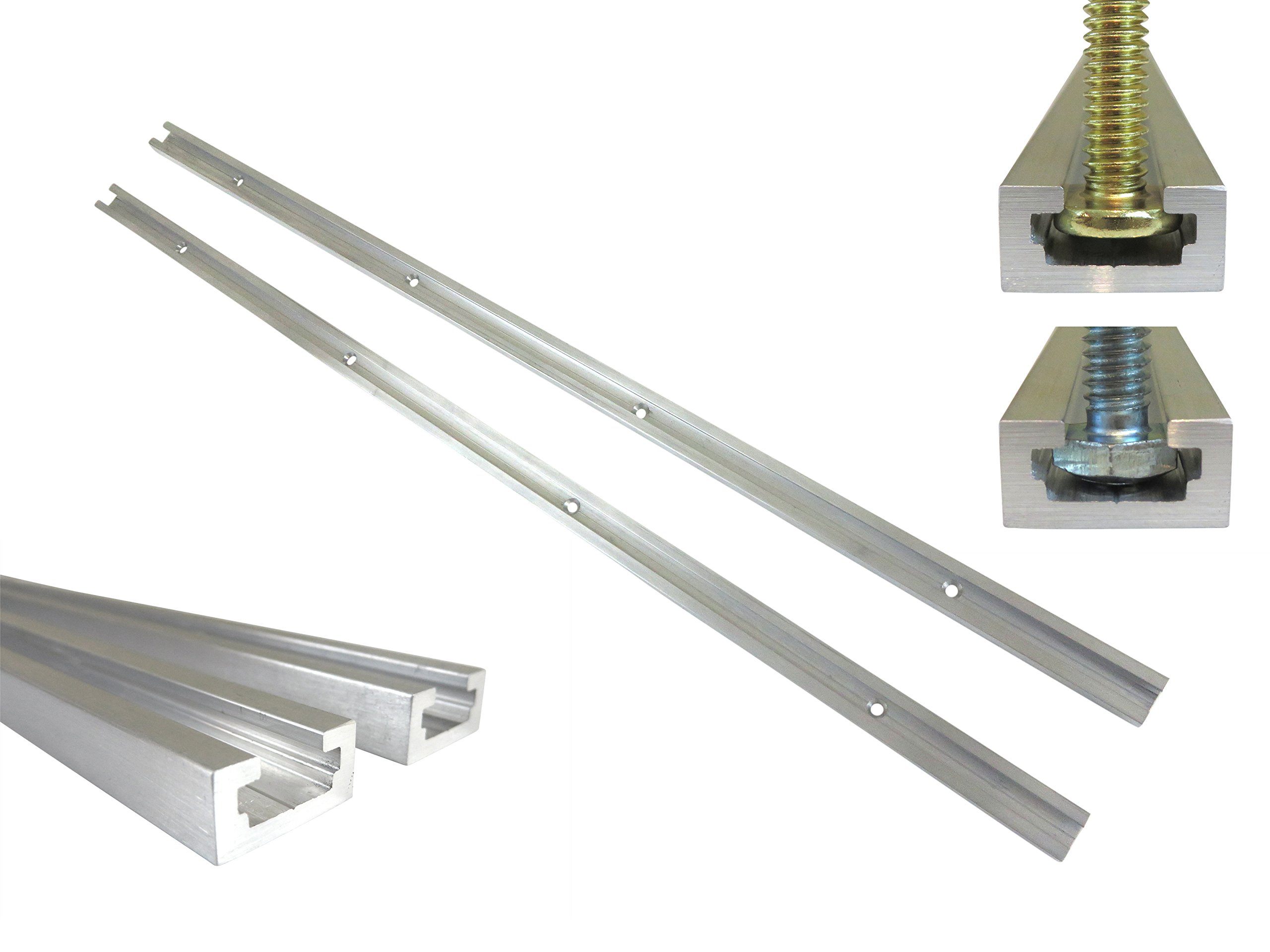 Lot 2 Each 24'' Aluminum T Track 3/4'' by 3/8'' Slot, Accepts 1/4'' Hex Bolts, 1/4'' or 5/16'' T Bolts, Countersunk Holes Every 6'' 112112