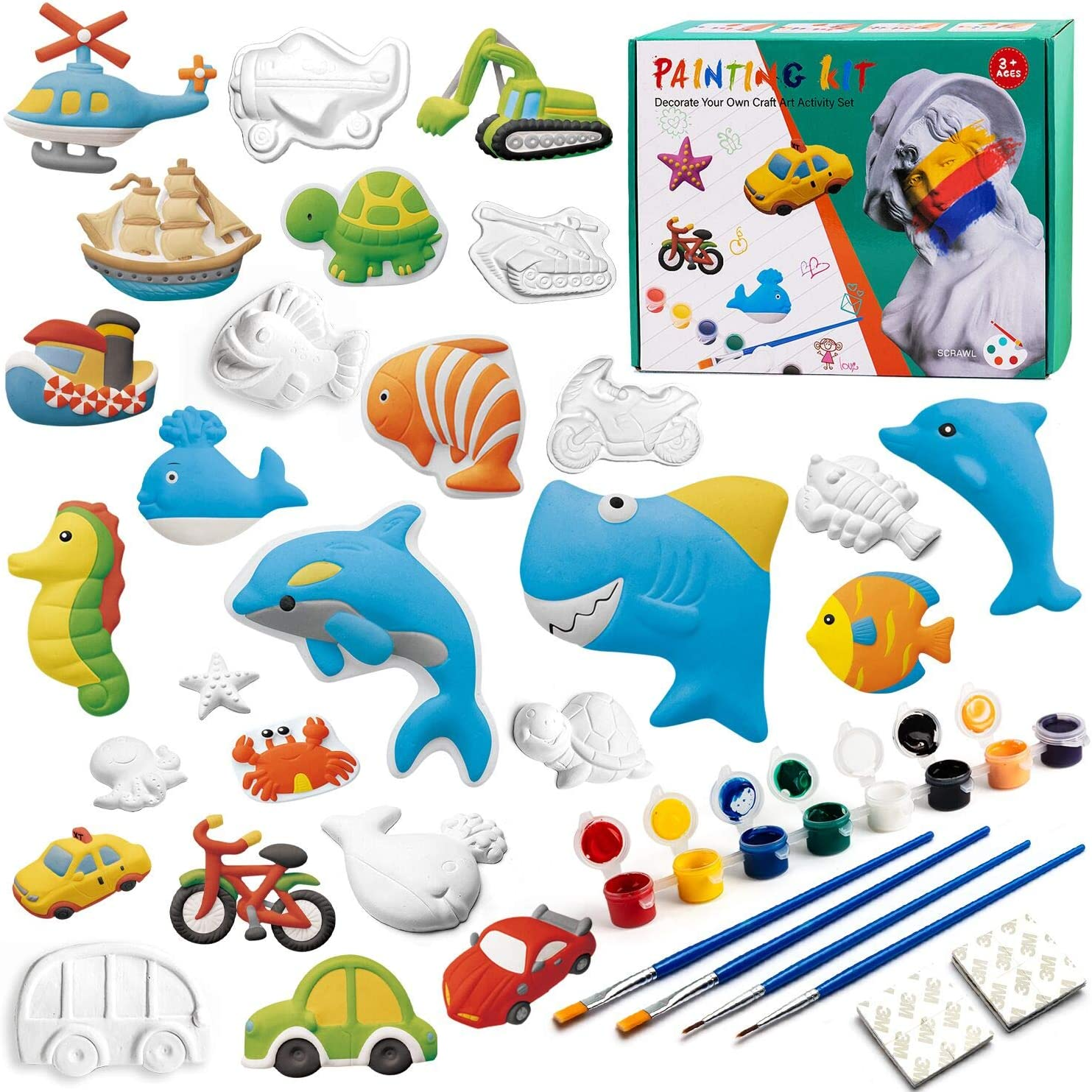 Tigerhu 55 Pcs Kids Crafts and Arts Set Painting Kit - Paint by Numbers for Kids- Painting Your Own Figurines, Includes 27 Figurines, 8 Pots of Paint,16 stickers, 4 Brushes, Complete Plaster Craft Kit