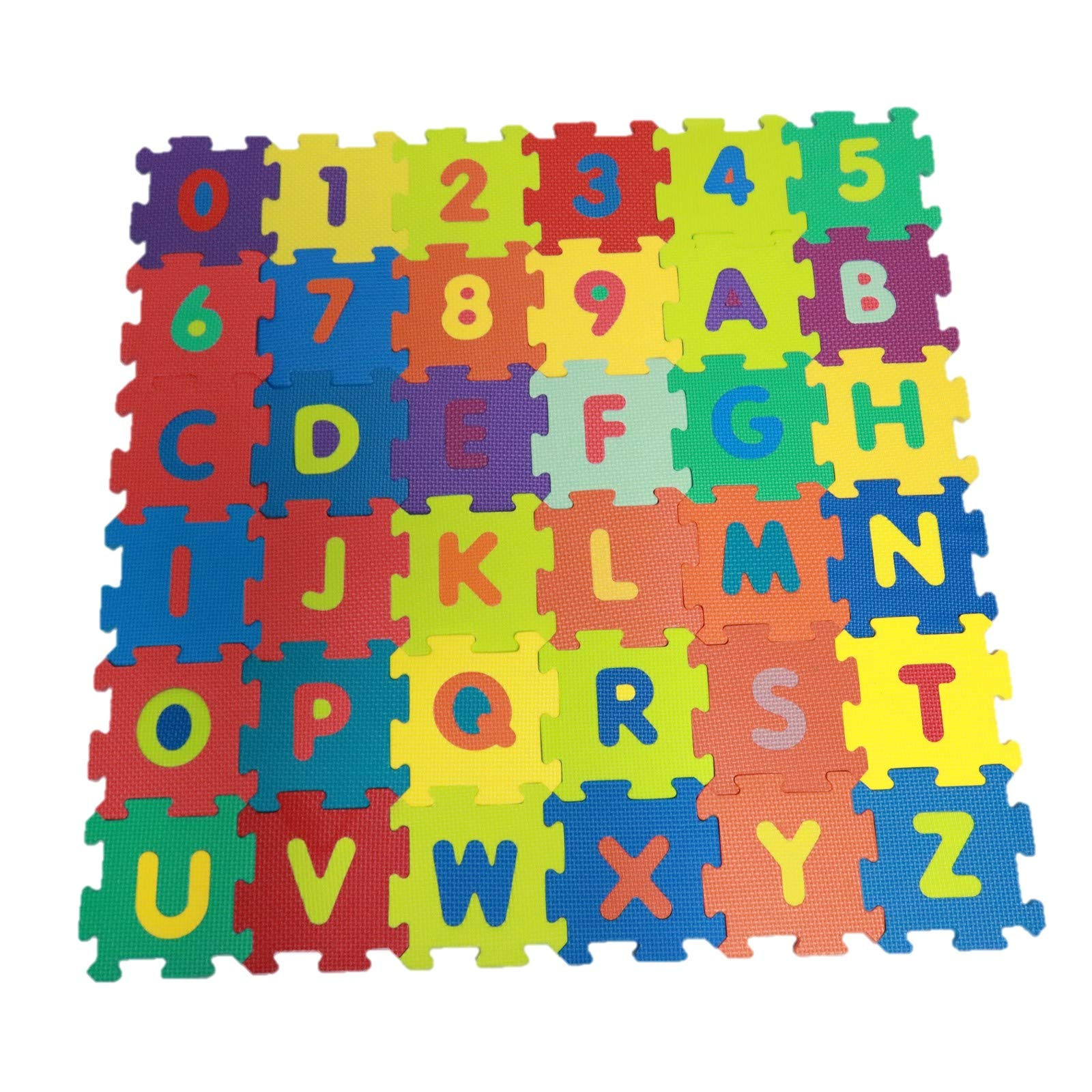 Vokodo Kids 36 Piece Alphabet and Numeric Play Mat Set Colorful Floor Puzzle Interlocking EVA Foam Tiles Children Playroom Toys Building Construction Creative Imagination for Boys Girls by Vokodo