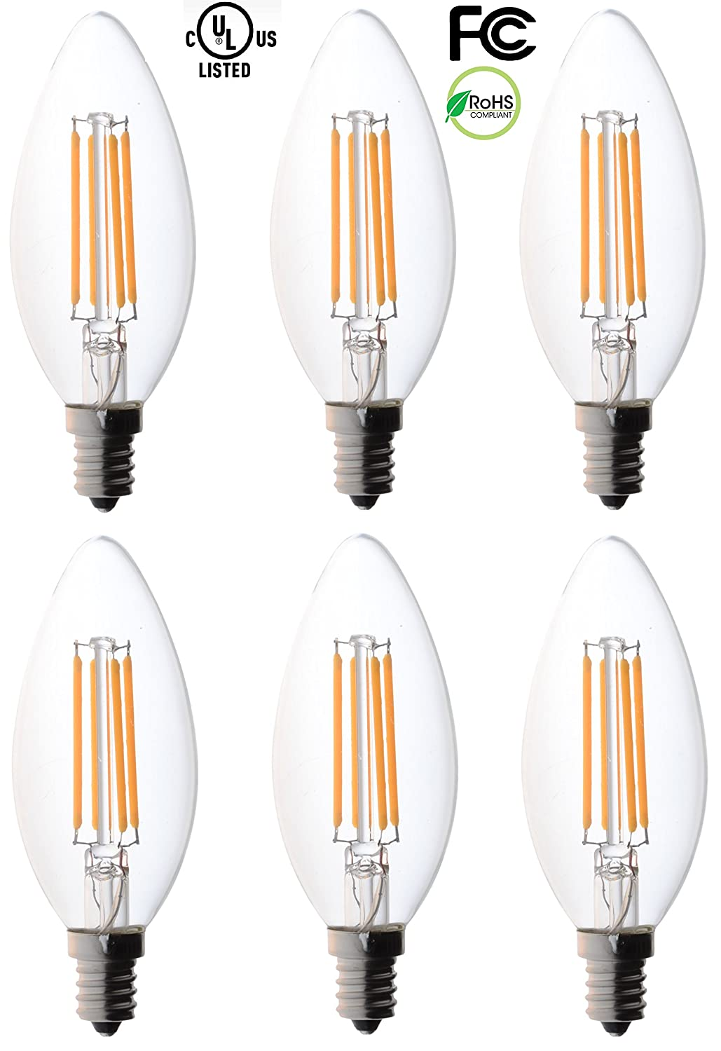 6 pack bioluz led filament candelabra clear led bulbs e12 base 6 pack bioluz led filament candelabra clear led bulbs e12 base c37 high efficiency 360 led candle bulbs pack of 6 amazon arubaitofo Gallery