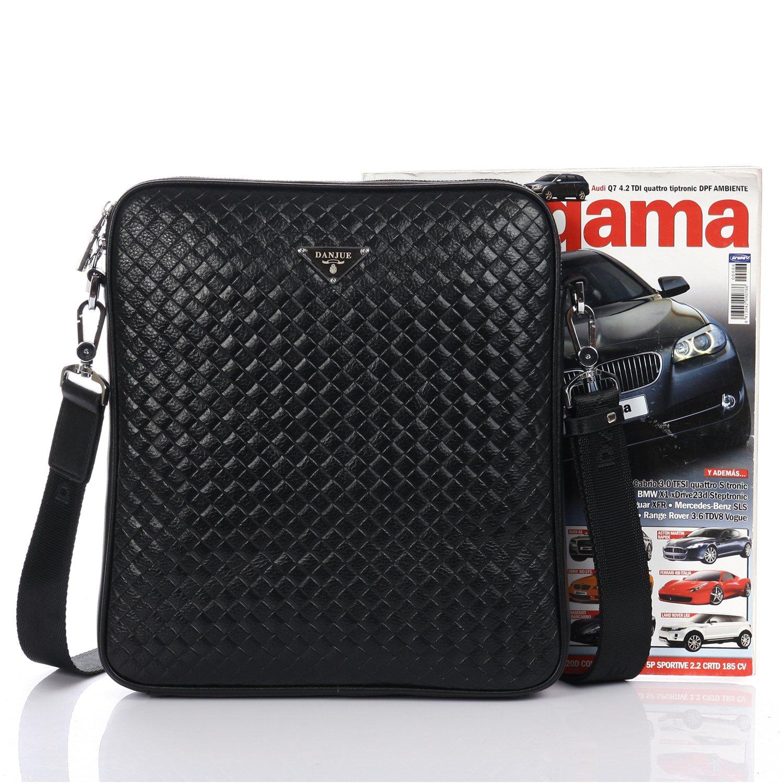 DANJUE Mens Shoulder Bags Leather Delicate Plaid Pattern Trendy Sling Crossbody Bag with Removable Strap Business Casual Messenger Bag Waterproof Satchel Men 8802-3
