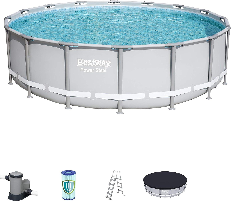 Bestway mit und Zubehör Power Steel Pool Ø488 x 122 cm ...