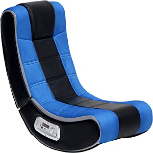 Ace Bayou X Rocker 2.1 Sound V Rocker SE Wireless Foldable Video Gaming Floor Chair with 2 Speakers and Subwoofer - Blue/Black/Gray, 5130001