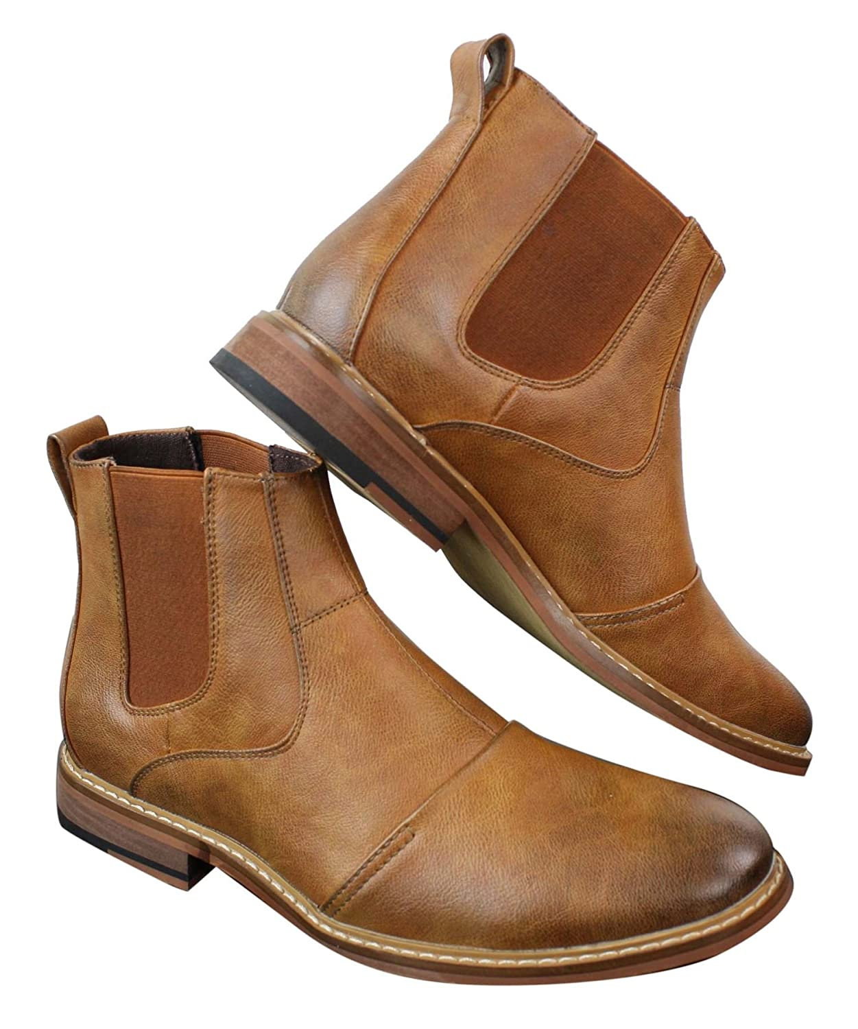 Mens Slip On /& Laced Tan Brown Military Brouge Boots Smart Casual Leather Lined