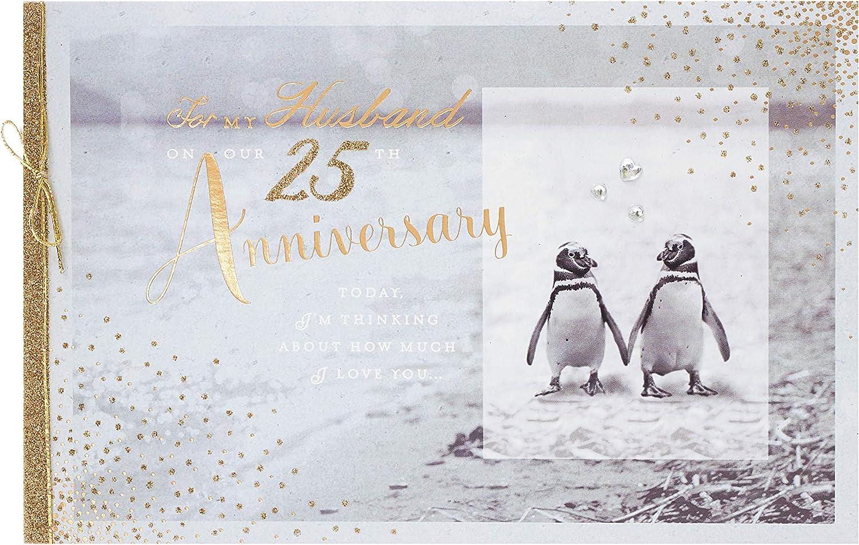 uk greetings Husband 25th Wedding Anniversary Card - Silver Anniversary Card Husband - 25 Year Anniversary Card - Anniversary Card for Him - Silver Anniversary Gifts – Anniversary Gifts for Him