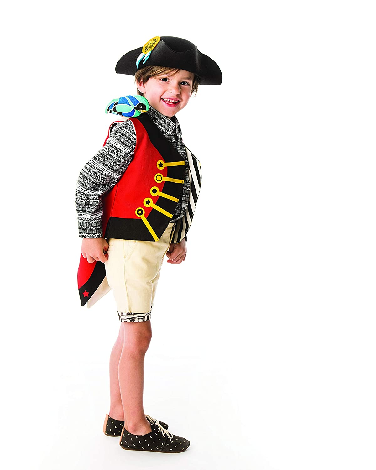 Red Pirate Vest for Kids with Parrot and Treasure Map