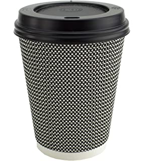 be4449ab271 Ripple Hot Cups with Lids for Coffee and Takeaway Drinks - 50 Cups and 50  Lids - Triple Wall…