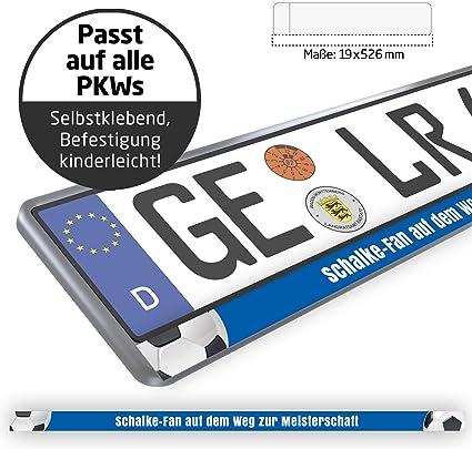Schalke Fan Auf Dem Weg Zur Meisterschaft Design Kennzeichenschild Für Schalke Fans Premium Nummernschild Für Dein Auto 2 Stk Passt Auf Alle Kennzeichenhalter Sport Freizeit