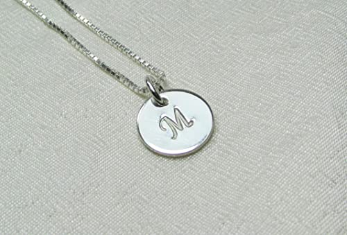 Custom silver necklace with personalized monogram silver plated chain and hand stamped initial