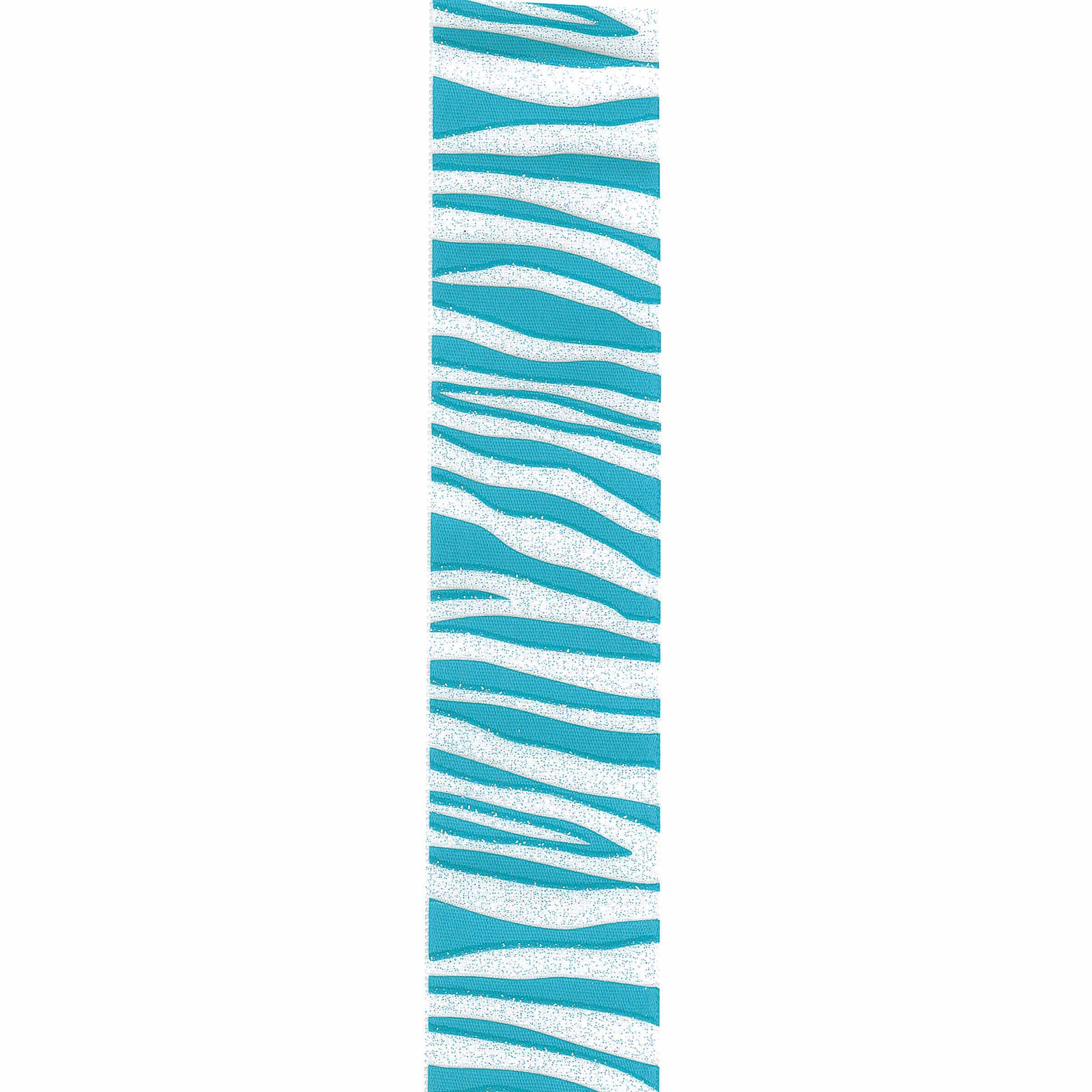 Offray Zebra Crystal Craft Ribbon, 3/8-Inch x 12-Feet, Turquoise