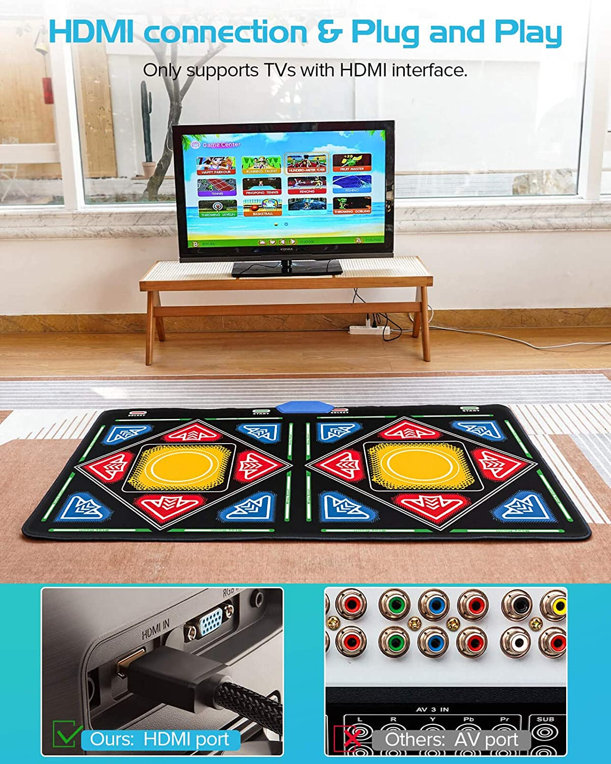 168pcs Wireless Handle Games for HDMI TVs Flannel Material Double Classic Game Dance Floor Mat Elikliv Double Dance Mat for Kids Adults Boys Girls Fitness Yoga Dance Pad with MV//3D//Cartoon Mode