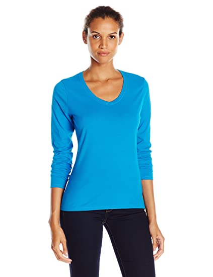 291821e7 Hanes Women's V-Neck Long Sleeve Tee at Amazon Women's Clothing store: