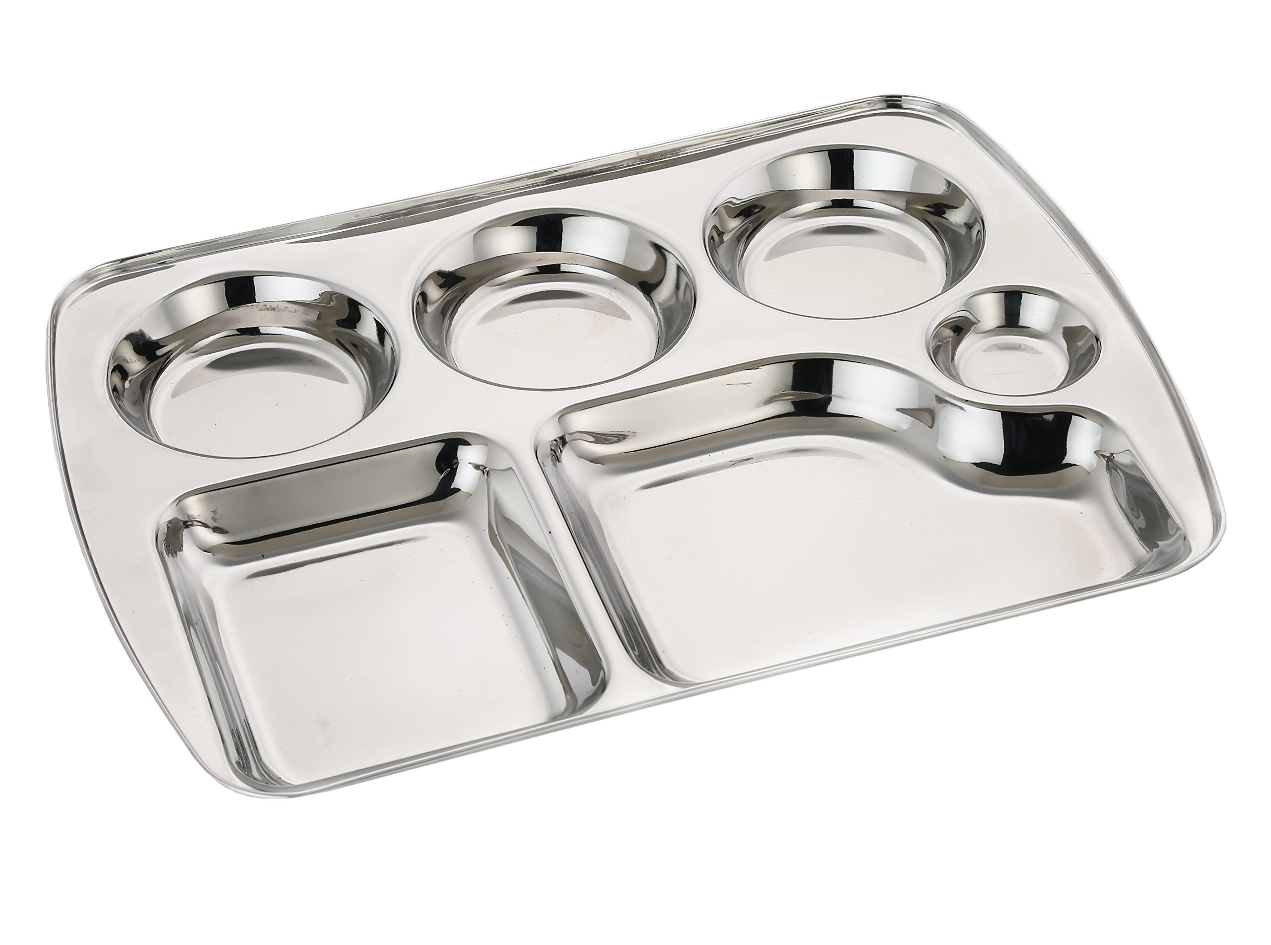 Expresso Indian BPA Free Stainless Steel Rectangle Dinner Plate w/ 6 Sections Divided Mess Trays for Kids, Toddler Lunch, Camping, Events & Every Day Use Kitchenware