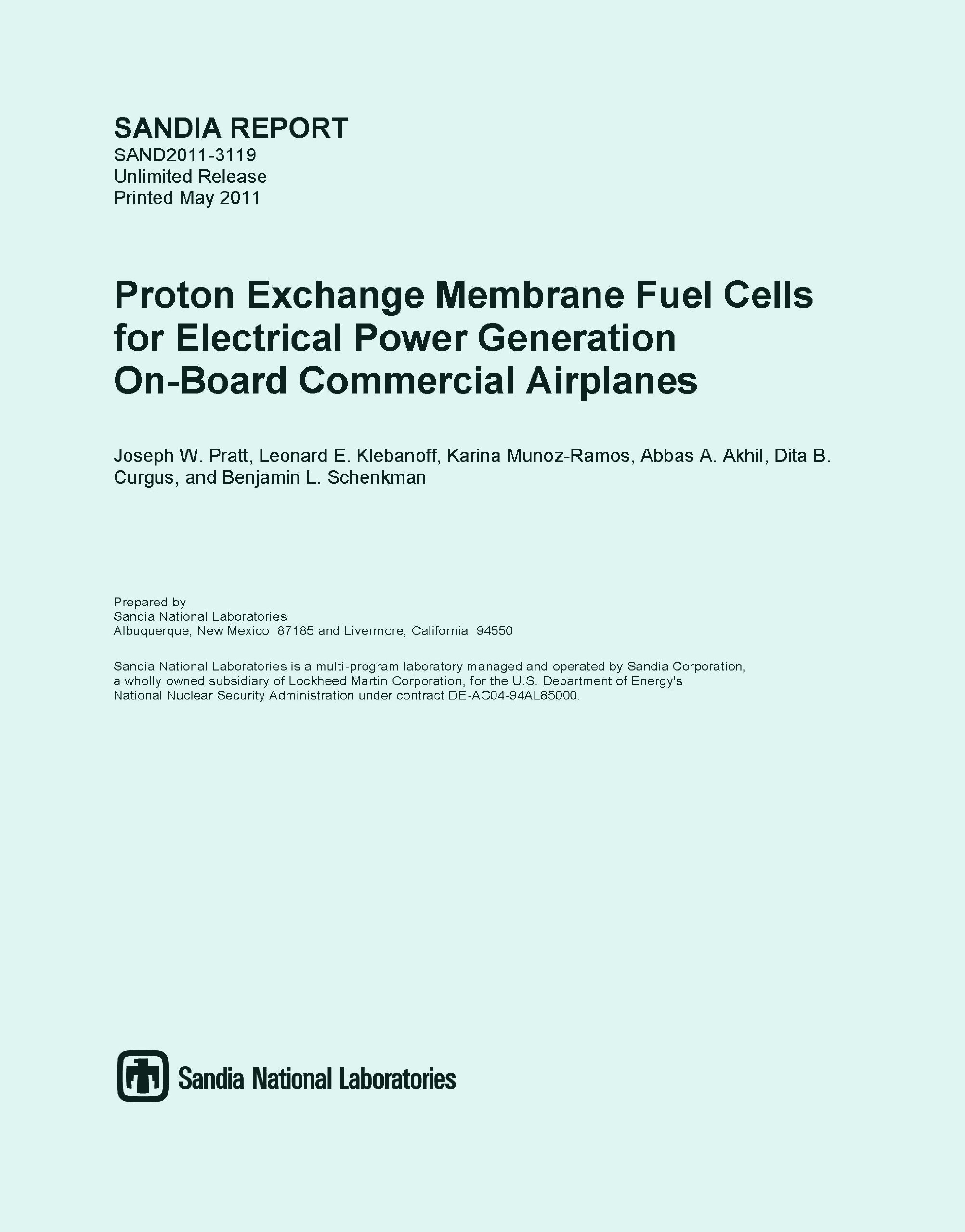 Download Proton Exchange Membrane Fuel Cells for Electrical Power Generation On-Board Commercial Airplanes (SANDIA REPORT SAND2011-3119 Printed May 2011) pdf