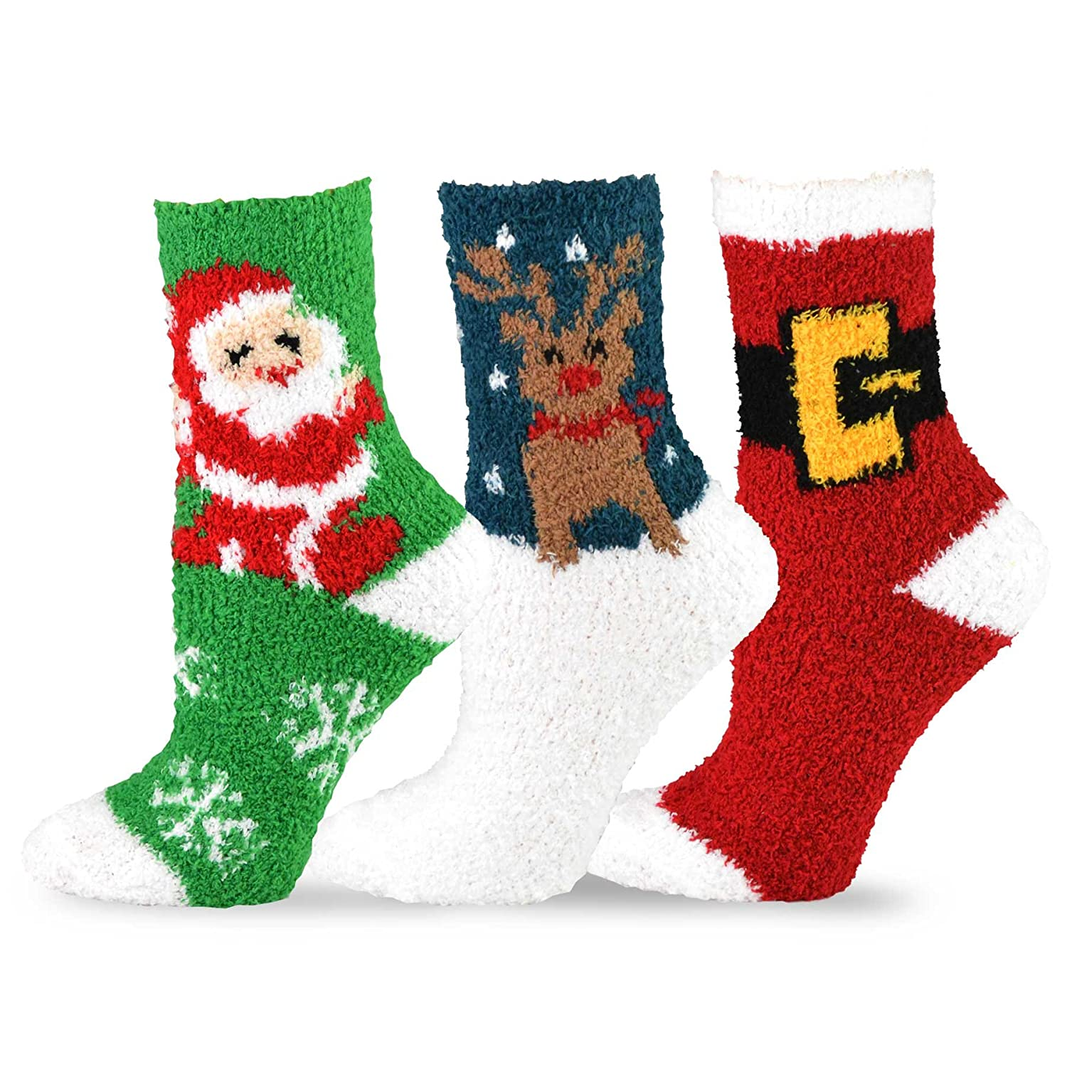 TeeHee Christmas Holiday Cozy Fuzzy Crew Socks 3-Pack for Women