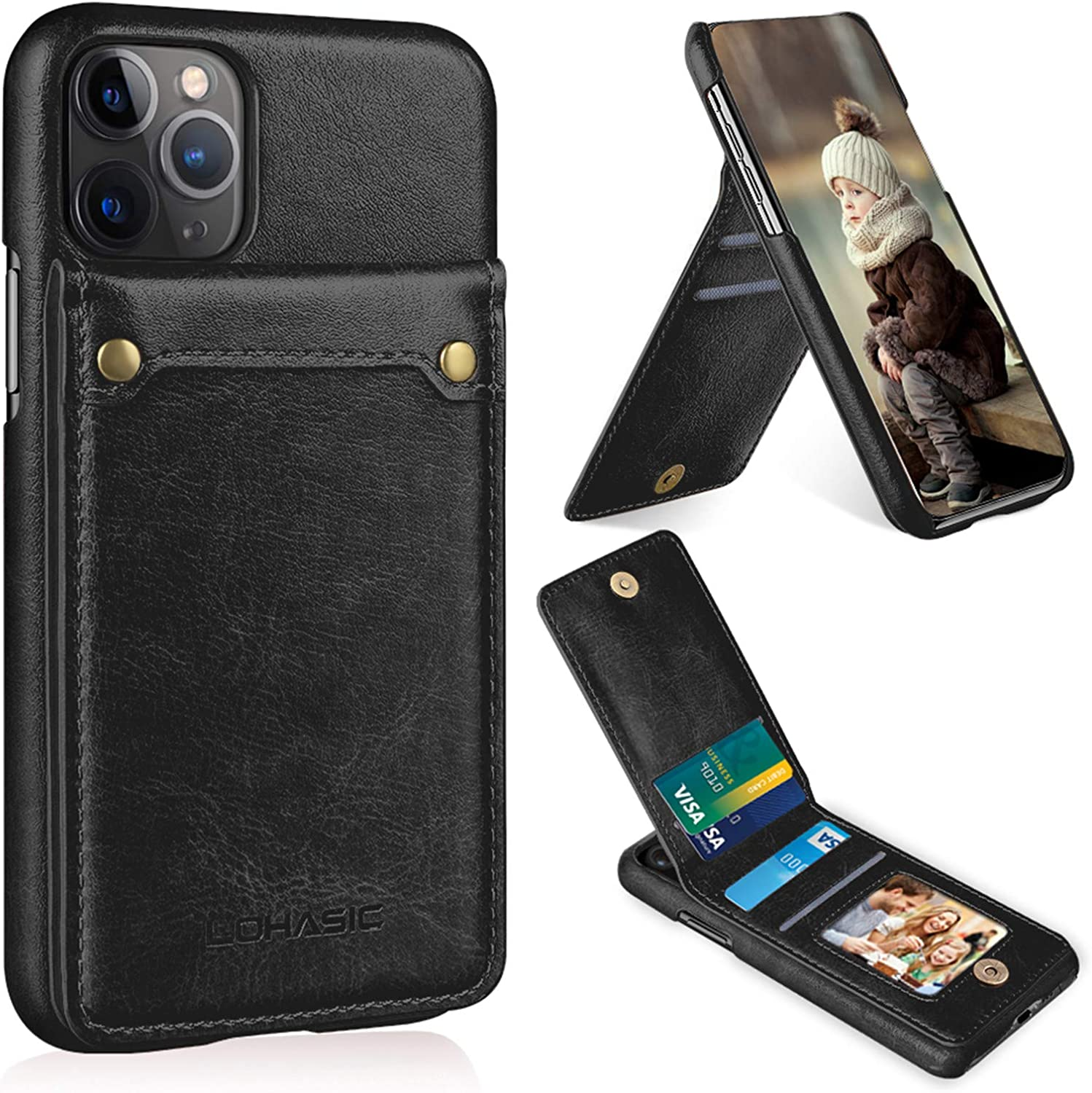PU Leather Flip Cover Compatible with iPhone 11 Pro Max Elegant black Wallet Case for iPhone 11 Pro Max