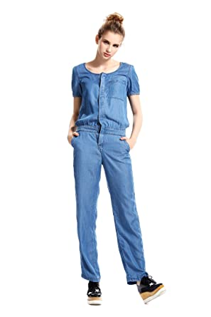 8522ae40536 Escalier Women s V-neck Denim Loose Jumpsuit Rompers with Belt (4