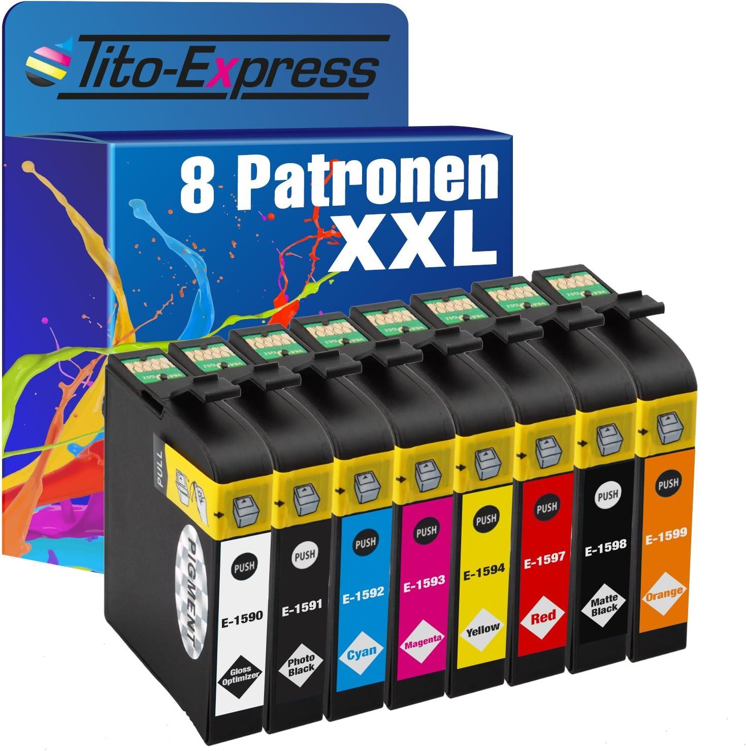 Tito Express Platinumserie 8 Druckerpatronen Xxl Te1590 Te1599 Kompatibel Mit Epson Stylus Photo R2000 Bürobedarf Schreibwaren